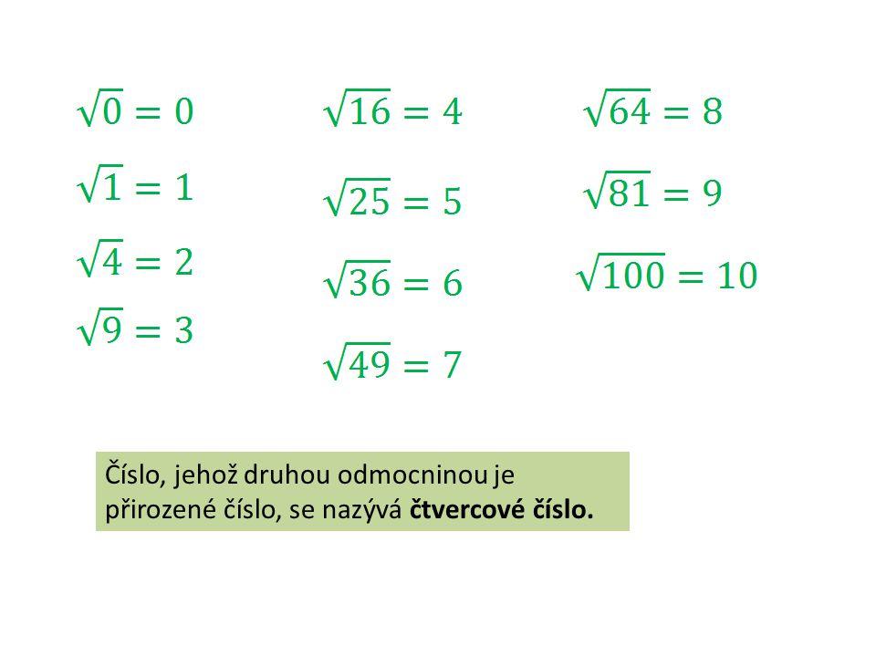 Číslo, jehož druhou odmocninou je přirozené číslo, se nazývá čtvercové číslo.