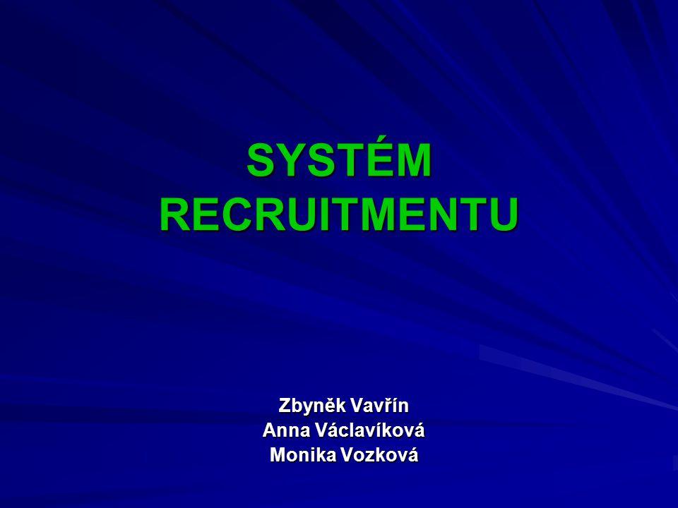 SYSTÉM RECRUITMENTU Zbyněk Vavřín Anna Václavíková Monika Vozková