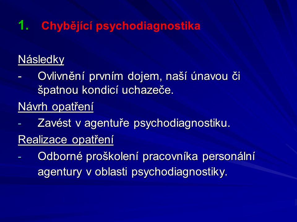 1. 1. Chybějící psychodiagnostikaNásledky - Ovlivnění prvním dojem, naší únavou či špatnou kondicí uchazeče. Návrh opatření - Zavést v agentuře psycho