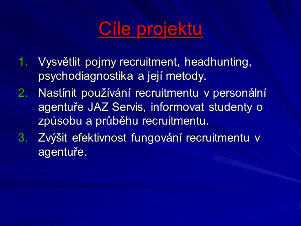 Cíle projektu 1.Vysvětlit pojmy recruitment, headhunting, psychodiagnostika a její metody. 2.Nastínit používání recruitmentu v personální agentuře JAZ
