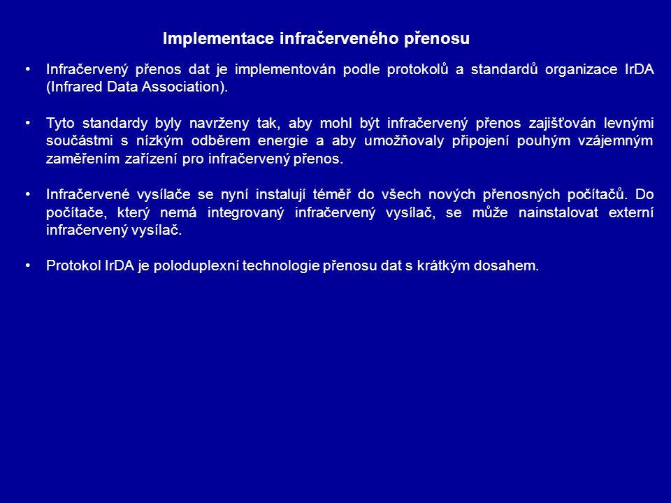 Infračervený přenos dat je implementován podle protokolů a standardů organizace IrDA (Infrared Data Association). Tyto standardy byly navrženy tak, ab