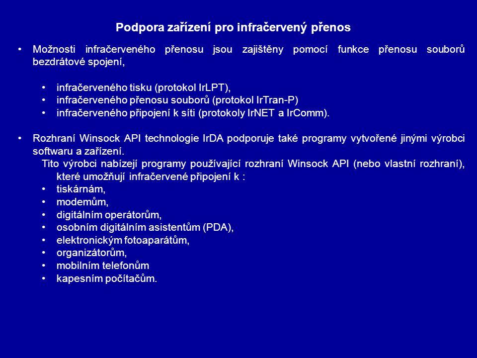 Možnosti infračerveného přenosu jsou zajištěny pomocí funkce přenosu souborů bezdrátové spojení, infračerveného tisku (protokol IrLPT), infračerveného