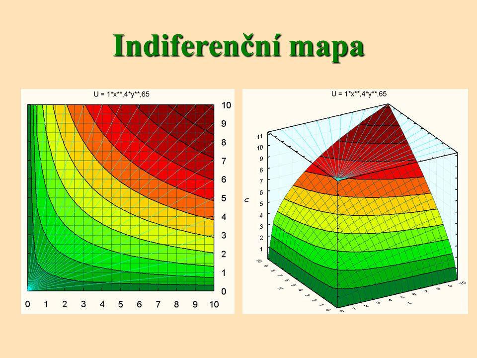 Nakreslete indiferenční křivku spotřebitele, kterému kilo pomerančů přináší poloviční užitek než kilo banánů.