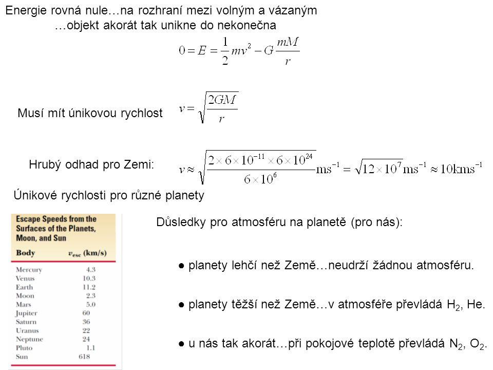 Energie rovná nule…na rozhraní mezi volným a vázaným …objekt akorát tak unikne do nekonečna Musí mít únikovou rychlost Únikové rychlosti pro různé pla