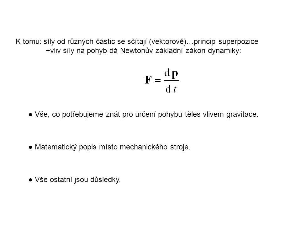 K tomu: síly od různých částic se sčítají (vektorově)…princip superpozice +vliv síly na pohyb dá Newtonův základní zákon dynamiky: ● Vše, co potřebuje
