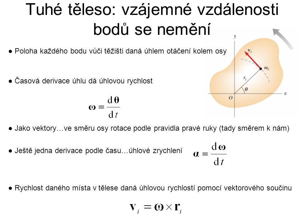 Tuhé těleso: vzájemné vzdálenosti bodů se nemění ● Poloha každého bodu vůči těžišti daná úhlem otáčení kolem osy ● Časová derivace úhlu dá úhlovou ryc