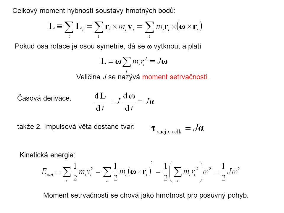 Veličina J se nazývá moment setrvačnosti. takže 2. Impulsová věta dostane tvar: Celkový moment hybnosti soustavy hmotných bodů: Pokud osa rotace je os