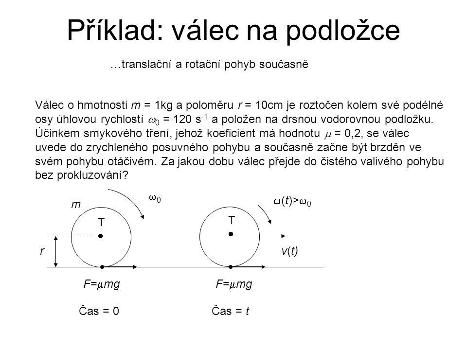 Příklad: válec na podložce Válec o hmotnosti m = 1kg a poloměru r = 10cm je roztočen kolem své podélné osy úhlovou rychlostí  0 = 120 s -1 a položen