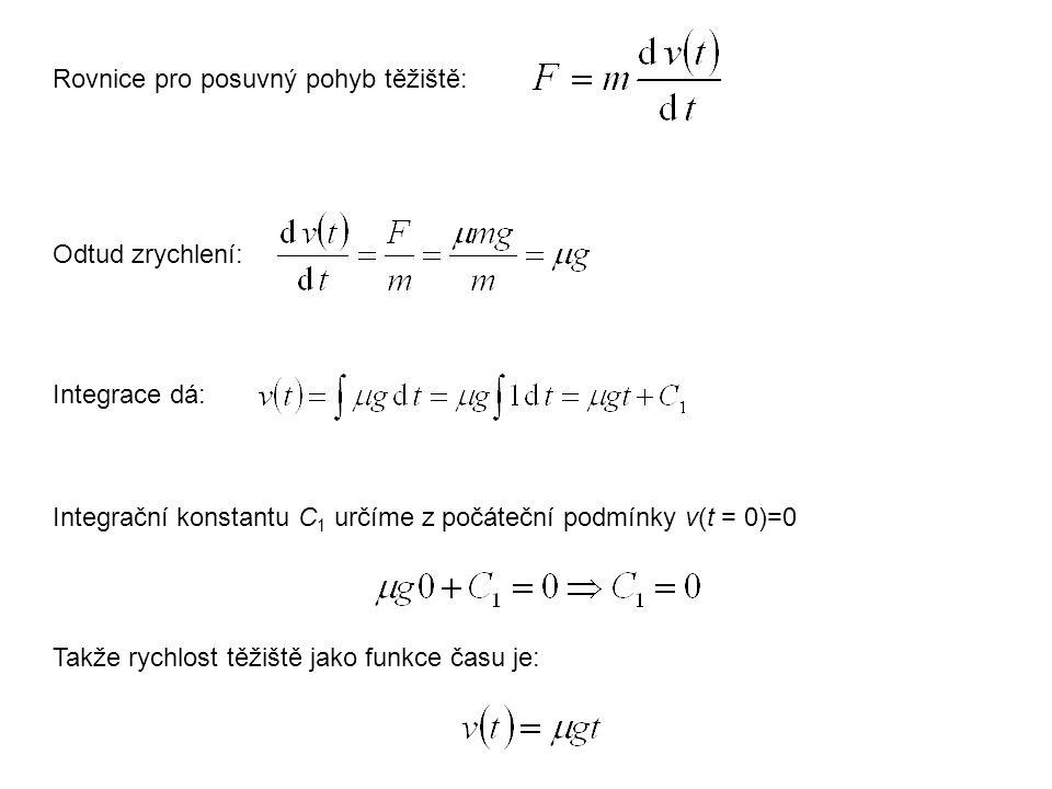 Rovnice pro posuvný pohyb těžiště: Integrační konstantu C 1 určíme z počáteční podmínky v(t = 0)=0 Odtud zrychlení: Integrace dá: Takže rychlost těžiš