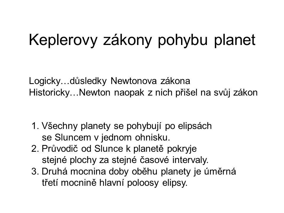 Keplerovy zákony pohybu planet Logicky…důsledky Newtonova zákona Historicky…Newton naopak z nich přišel na svůj zákon 1. Všechny planety se pohybují p