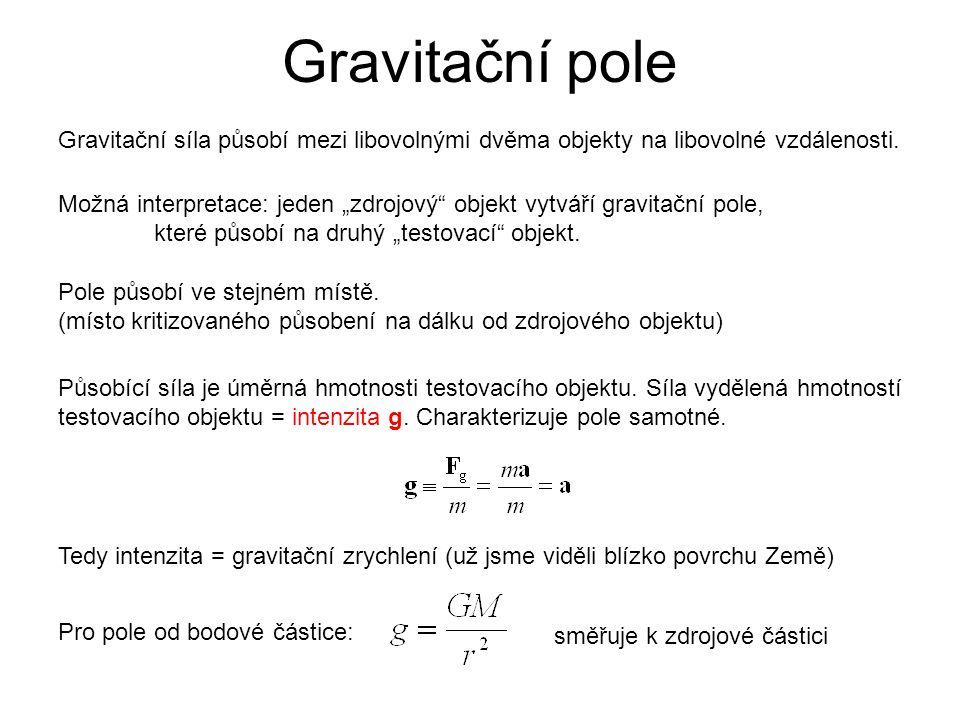 """Gravitační pole Gravitační síla působí mezi libovolnými dvěma objekty na libovolné vzdálenosti. Možná interpretace: jeden """"zdrojový"""" objekt vytváří gr"""