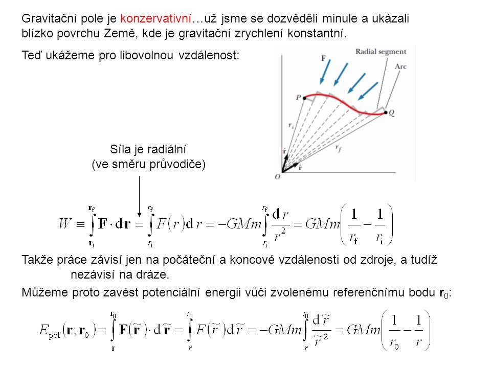 Blízko povrchu Země Ve výšce h je r = r Z + h První člen = potenciální energie místa na povrchu Země Druhý člen = potenciální energie vůči povrchu Země = mgh jako minule.