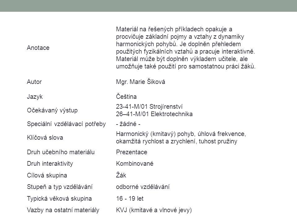 MECHANICKÉ KMITÁNÍ 10. Dynamika harmonického pohybu – příklady KMITAVÉ A VLNOVÉ JEVY www.zlinskedumy.cz Mgr. Marie Šiková