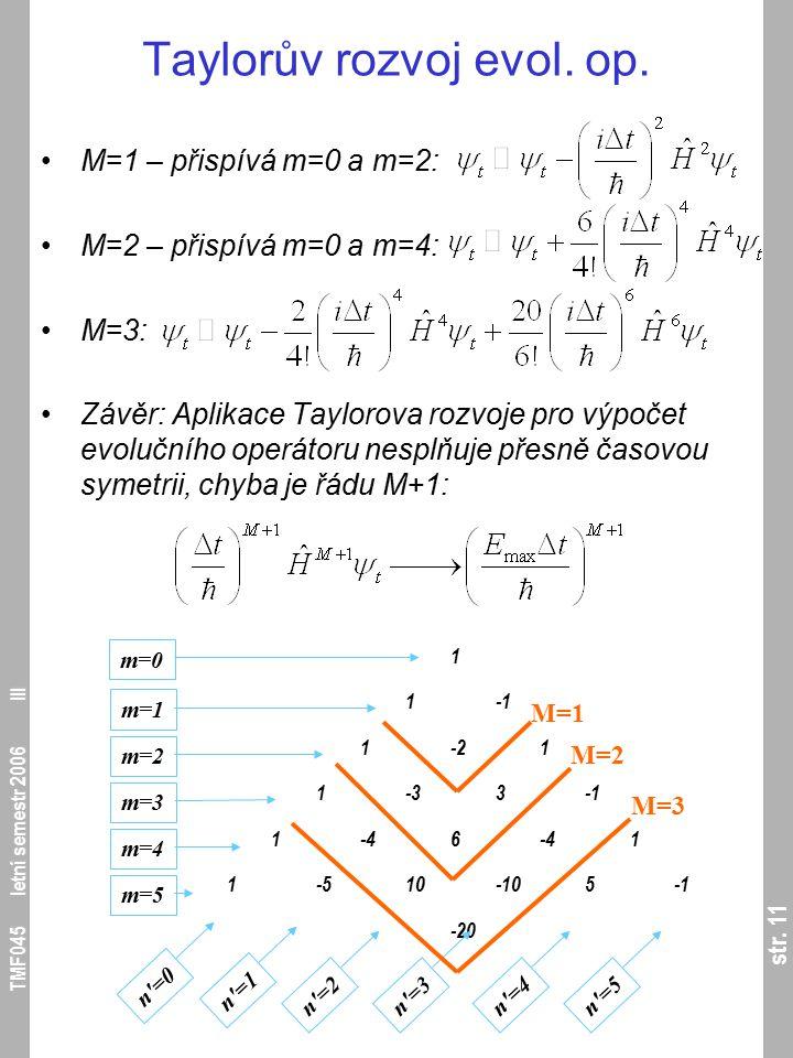 str. 11 TMF045 letní semestr 2006 III Taylorův rozvoj evol. op. M=1 – přispívá m=0 a m=2: M=2 – přispívá m=0 a m=4: M=3: Závěr: Aplikace Taylorova roz