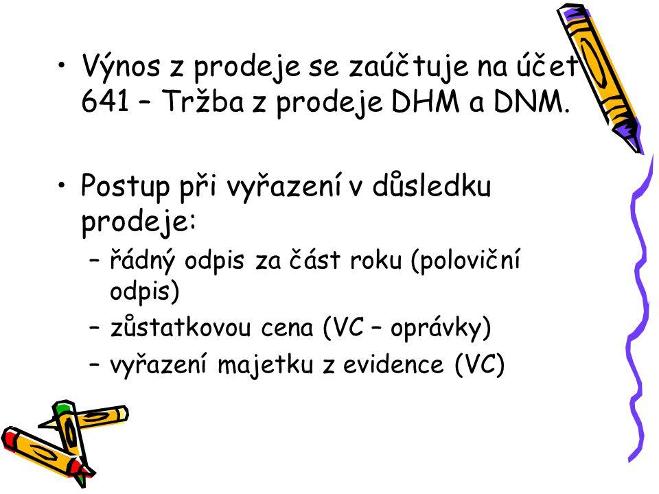 Výnos z prodeje se zaúčtuje na účet 641 – Tržba z prodeje DHM a DNM.