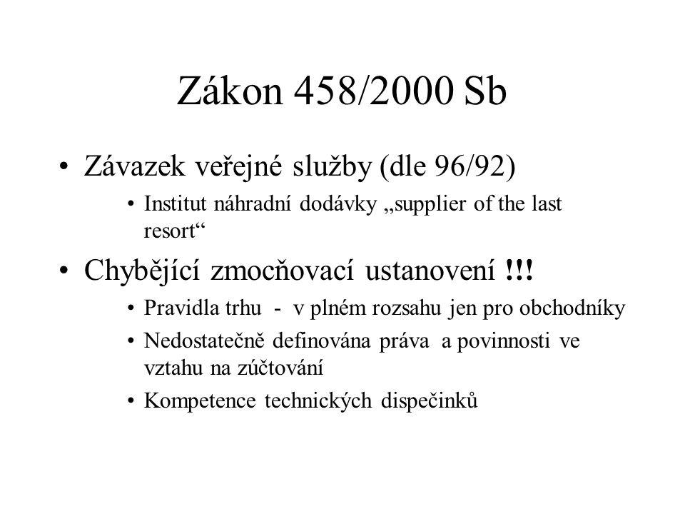 """Zákon 458/2000 Sb Závazek veřejné služby (dle 96/92) Institut náhradní dodávky """"supplier of the last resort Chybějící zmocňovací ustanovení !!."""