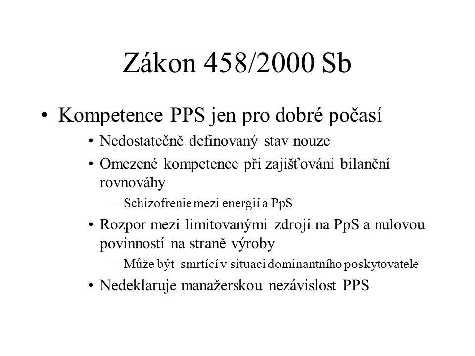 Zákon 458/2000 Sb Kompetence PPS jen pro dobré počasí Nedostatečně definovaný stav nouze Omezené kompetence při zajišťování bilanční rovnováhy –Schizofrenie mezi energií a PpS Rozpor mezi limitovanými zdroji na PpS a nulovou povinností na straně výroby –Může být smrtící v situaci dominantního poskytovatele Nedeklaruje manažerskou nezávislost PPS