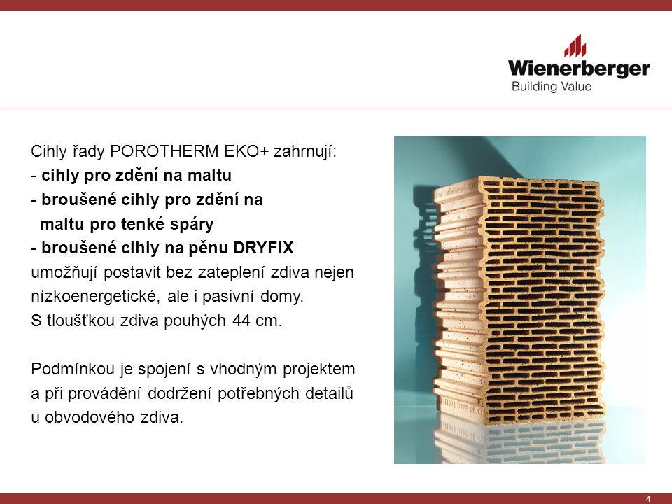 4 Cihly řady POROTHERM EKO+ zahrnují: - cihly pro zdění na maltu - broušené cihly pro zdění na maltu pro tenké spáry - broušené cihly na pěnu DRYFIX u