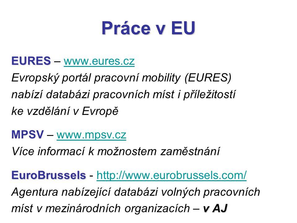 Práce v EU EURES EURES – www.eures.czwww.eures.cz Evropský portál pracovní mobility (EURES) nabízí databázi pracovních míst i příležitostí ke vzdělání v Evropě MPSV – www.mpsv.czwww.mpsv.cz Více informací k možnostem zaměstnání EuroBrussels EuroBrussels - http://www.eurobrussels.com/http://www.eurobrussels.com/ Agentura nabízející databázi volných pracovních v AJ míst v mezinárodních organizacích – v AJ