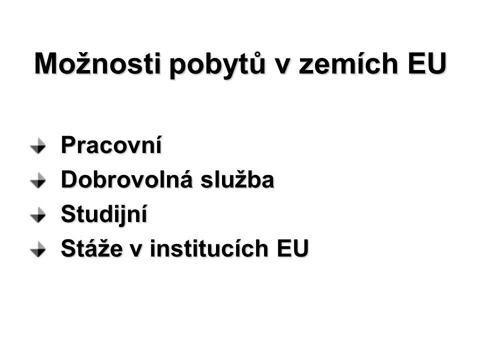 Možnosti pobytů v zemích EU Pracovní Pracovní Dobrovolná služba Dobrovolná služba Studijní Studijní Stáže v institucích EU Stáže v institucích EU