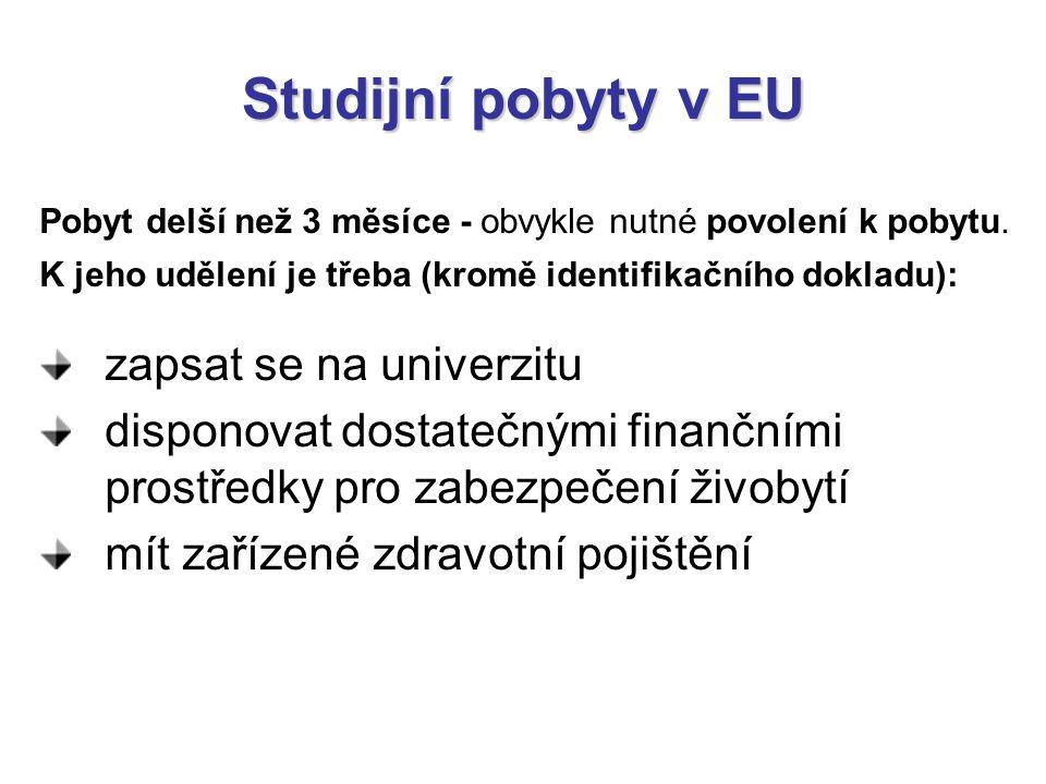 Studijní pobyty v EU Pobyt delší než 3 měsíce - obvykle nutné povolení k pobytu. K jeho udělení je třeba (kromě identifikačního dokladu): zapsat se na