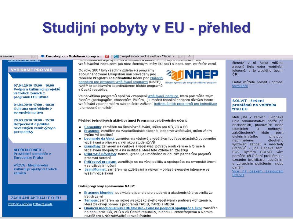 Studijní pobyty v EU - přehled