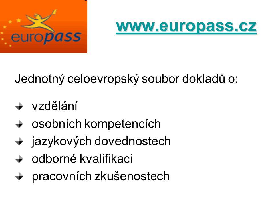 www.europass.cz Jednotný celoevropský soubor dokladů o: vzdělání osobních kompetencích jazykových dovednostech odborné kvalifikaci pracovních zkušenos