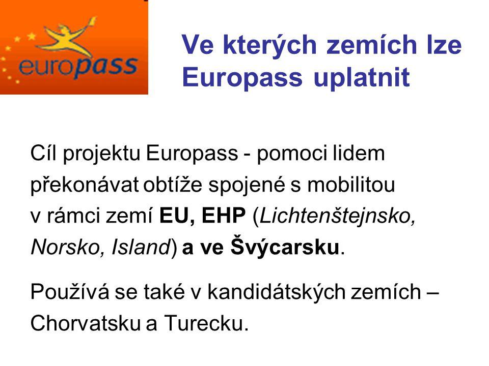 Ve kterých zemích lze Europass uplatnit Cíl projektu Europass - pomoci lidem překonávat obtíže spojené s mobilitou v rámci zemí EU, EHP (Lichtenštejnsko, Norsko, Island) a ve Švýcarsku.