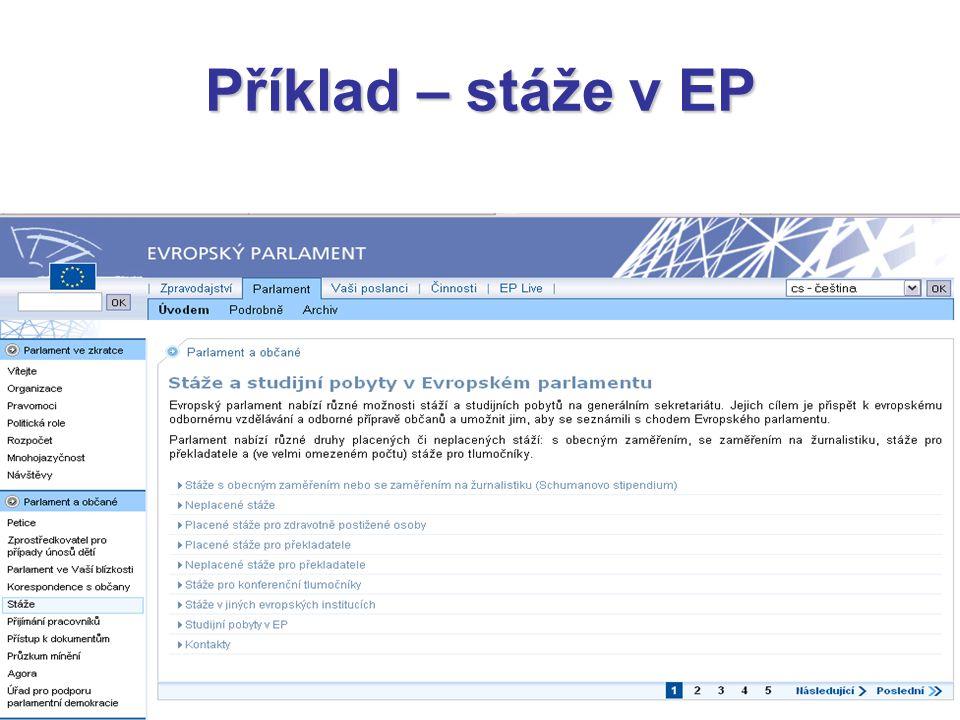 Příklad – stáže v EP