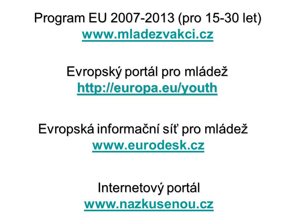 Program EU 2007-2013 (pro 15-30 let) Program EU 2007-2013 (pro 15-30 let) www.mladezvakci.cz www.mladezvakci.cz Evropský portál pro mládež http://europa.eu/youth http://europa.eu/youth Evropská informační síť pro mládež Evropská informační síť pro mládež www.eurodesk.cz www.eurodesk.cz Internetový portál www.nazkusenou.cz