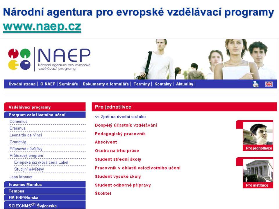 Národní agentura pro evropské vzdělávací programy www.naep.cz www.naep.cz