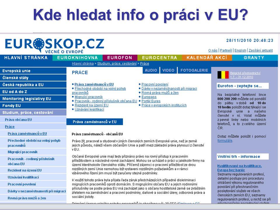 Kde hledat info o práci v EU