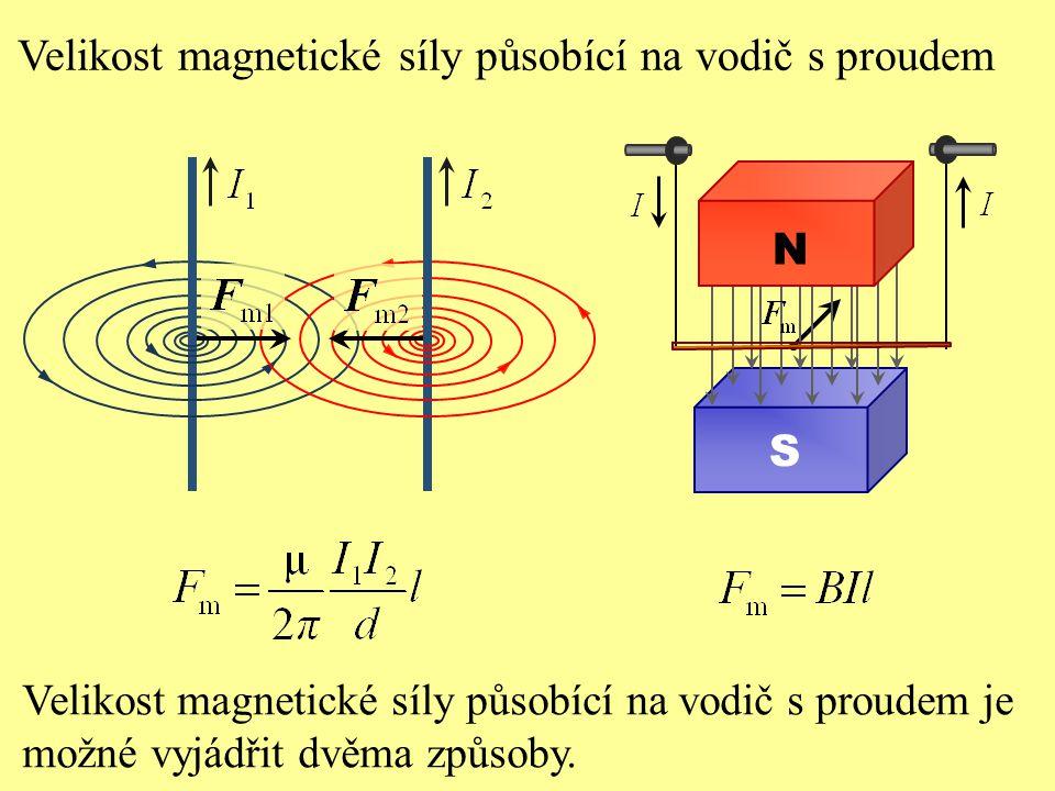 Velikost magnetické síly působící na vodič s proudem Velikost magnetické síly působící na vodič s proudem je možné vyjádřit dvěma způsoby. S N