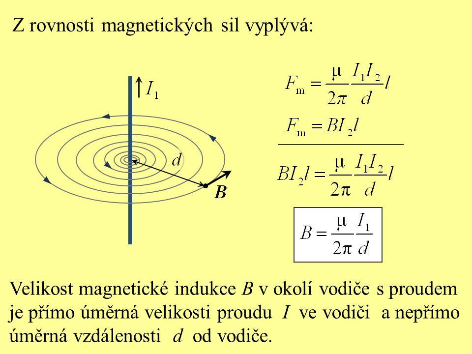 Z rovnosti magnetických sil vyplývá: Velikost magnetické indukce B v okolí vodiče s proudem je přímo úměrná velikosti proudu I ve vodiči a nepřímo úmě