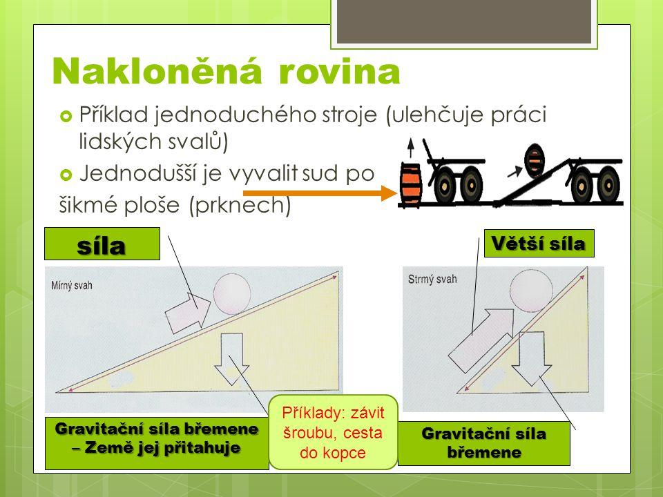  Příklad jednoduchého stroje (ulehčuje práci lidských svalů)  Jednodušší je vyvalit sud po šikmé ploše (prknech) Nakloněná rovina síla Gravitační sí