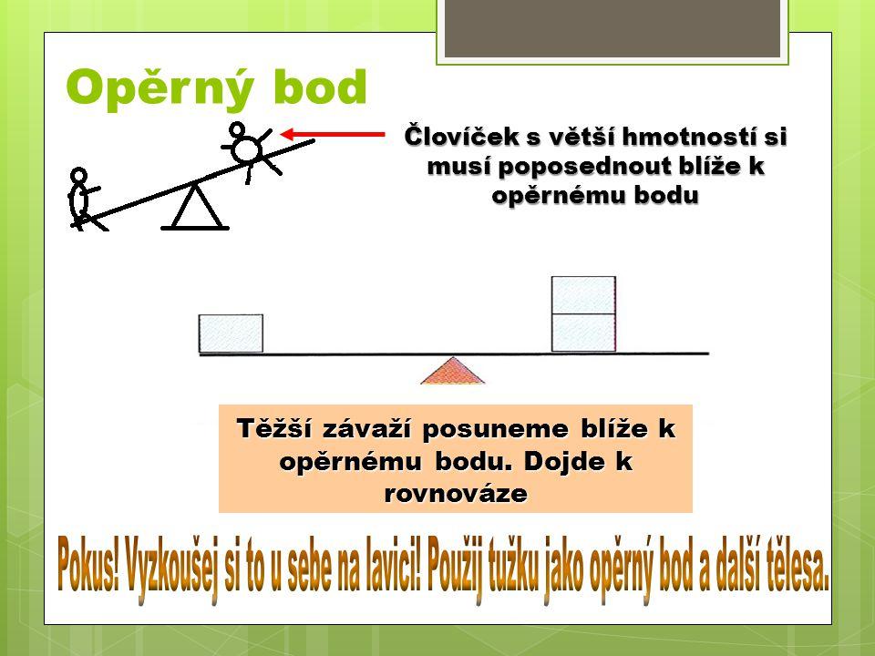 Opěrný bod Človíček s větší hmotností si musí poposednout blíže k opěrnému bodu Tělesa jsou ve stejné vzdálenosti od opěrného bodu v nerovnováze. Těžš