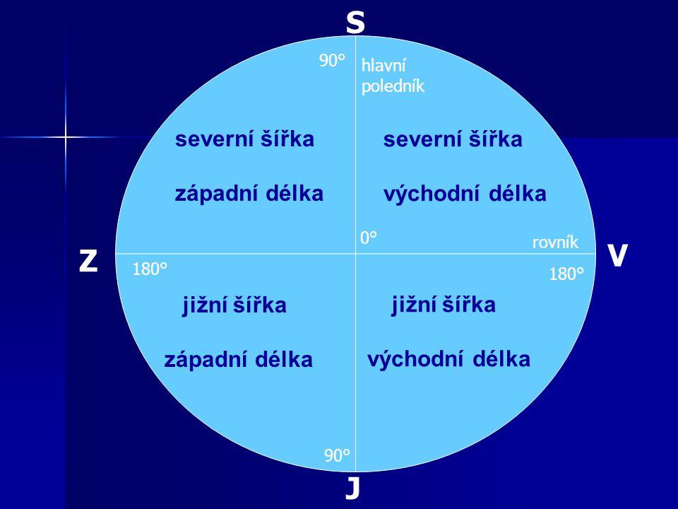 severní šířka západní délka severní šířka východní délka jižní šířka západní délka jižní šířka východní délka J S V Z rovník hlavní poledník 0°0° 90° 180°