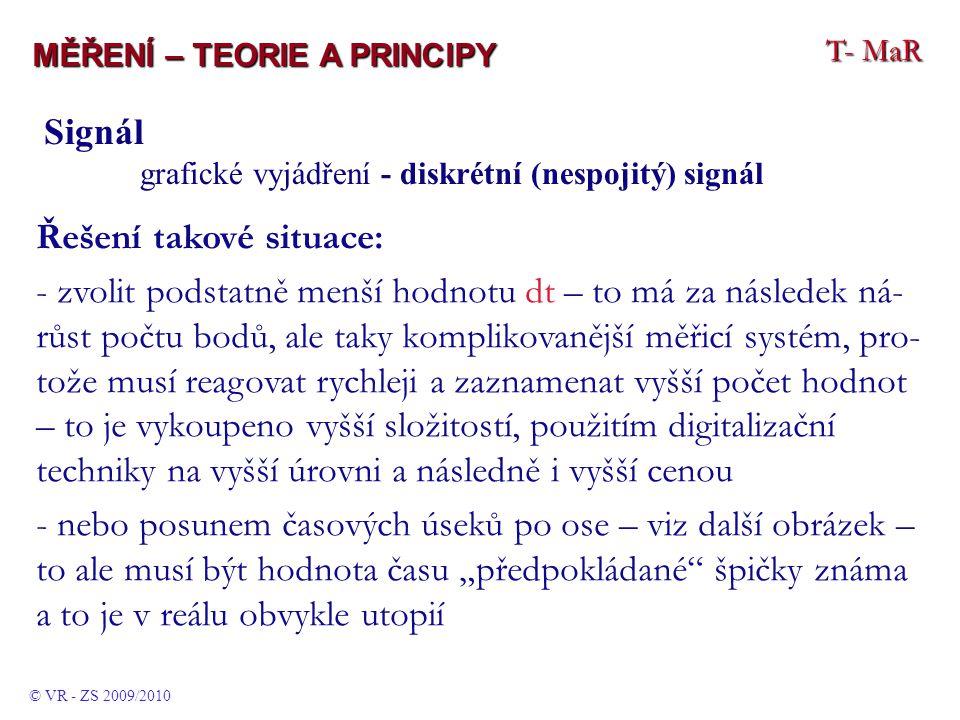 """T- MaR MĚŘENÍ – TEORIE A PRINCIPY © VR - ZS 2009/2010 Signál grafické vyjádření - diskrétní (nespojitý) signál Řešení takové situace: - zvolit podstatně menší hodnotu dt – to má za následek ná- růst počtu bodů, ale taky komplikovanější měřicí systém, pro- tože musí reagovat rychleji a zaznamenat vyšší počet hodnot – to je vykoupeno vyšší složitostí, použitím digitalizační techniky na vyšší úrovni a následně i vyšší cenou - nebo posunem časových úseků po ose – viz další obrázek – to ale musí být hodnota času """"předpokládané špičky známa a to je v reálu obvykle utopií"""