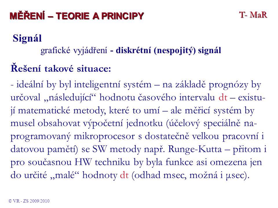 """T- MaR MĚŘENÍ – TEORIE A PRINCIPY © VR - ZS 2009/2010 Signál grafické vyjádření - diskrétní (nespojitý) signál Řešení takové situace: - ideální by byl inteligentní systém – na základě prognózy by určoval """"následující hodnotu časového intervalu dt – existu- jí matematické metody, které to umí – ale měřicí systém by musel obsahovat výpočetní jednotku (účelový speciálně na- programovaný mikroprocesor s dostatečně velkou pracovní i datovou pamětí) se SW metody např."""