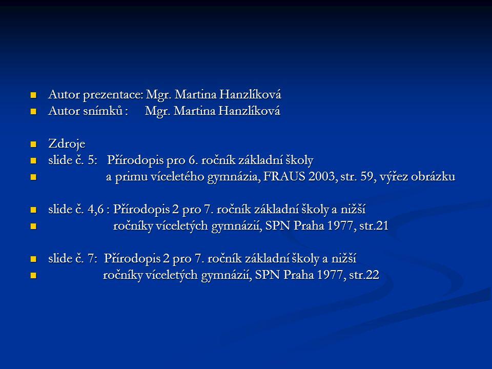 Autor prezentace: Mgr. Martina Hanzlíková Autor prezentace: Mgr. Martina Hanzlíková Autor snímků : Mgr. Martina Hanzlíková Autor snímků : Mgr. Martina