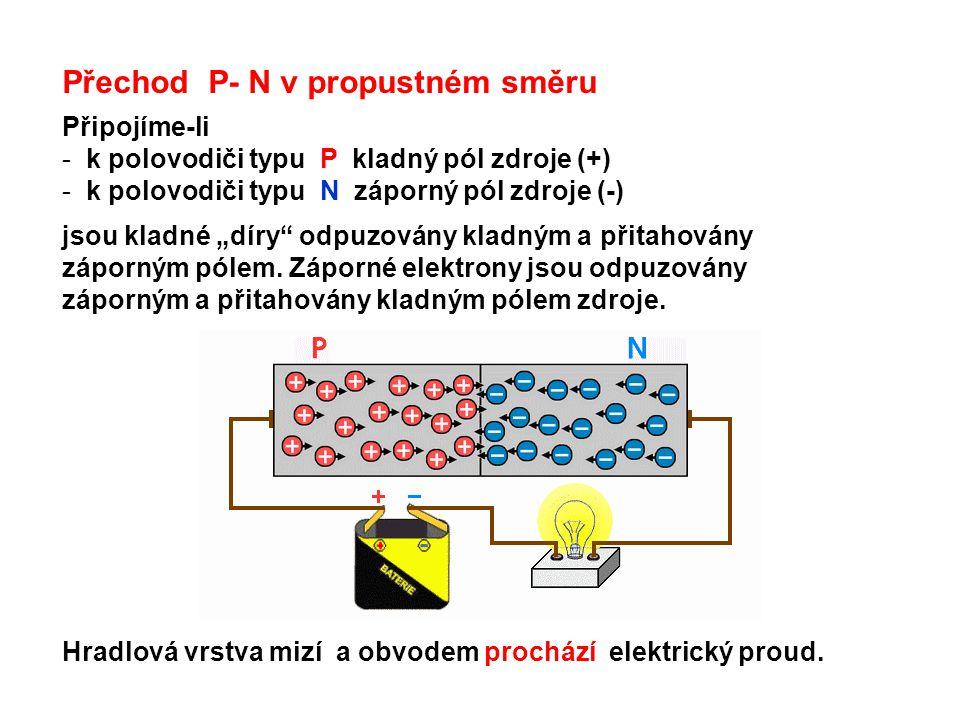 """Přechod P- N v propustném směru Připojíme-li - k polovodiči typu P kladný pól zdroje (+) - k polovodiči typu N záporný pól zdroje (-) jsou kladné """"dír"""