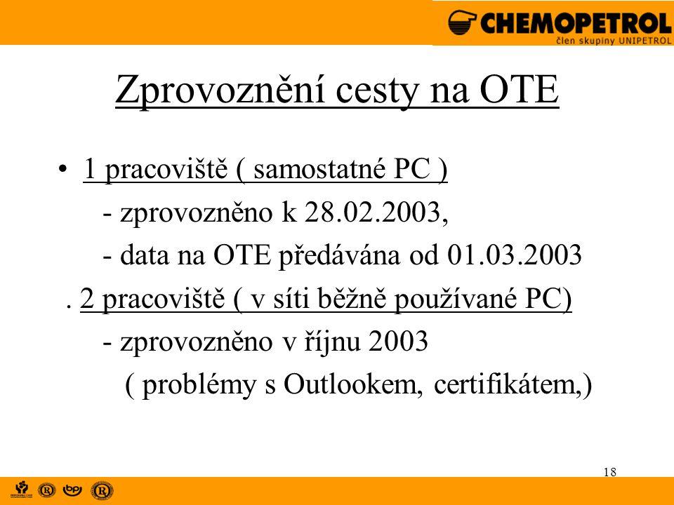 18 Zprovoznění cesty na OTE 1 pracoviště ( samostatné PC ) - zprovozněno k 28.02.2003, - data na OTE předávána od 01.03.2003. 2 pracoviště ( v síti bě