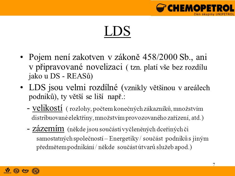 7 LDS Pojem není zakotven v zákoně 458/2000 Sb., ani v připravované novelizaci ( tzn. platí vše bez rozdílu jako u DS - REASů) LDS jsou velmi rozdílné