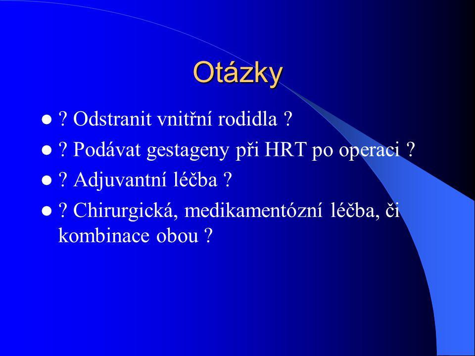 Otázky .Odstranit vnitřní rodidla . Podávat gestageny při HRT po operaci .