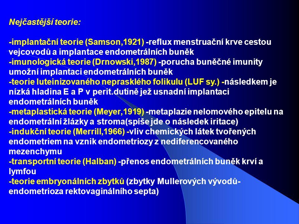 Nejčastější teorie: -implantační teorie (Samson,1921) -reflux menstruační krve cestou vejcovodů a implantace endometrálních buněk -imunologická teorie (Drnowski,1987) -porucha buněčné imunity umožní implantaci endometrálních buněk -teorie luteinizovaného neprasklého folikulu (LUF sy.) -následkem je nízká hladina E a P v perit.dutině jež usnadní implantaci endometrálních buněk -metaplastická teorie (Meyer,1919) -metaplazie nelomového epitelu na endometrální žlázky a stroma(spíše jde o následek iritace) -indukční teorie (Merrill,1966) -vliv chemických látek tvořených endometriem na vznik endometriozy z nediferencovaného mezenchymu -transportní teorie (Halban) -přenos endometrálních buněk krví a lymfou -teorie embryonálních zbytků (zbytky Mullerových vývodů- endometrioza rektovaginálního septa)