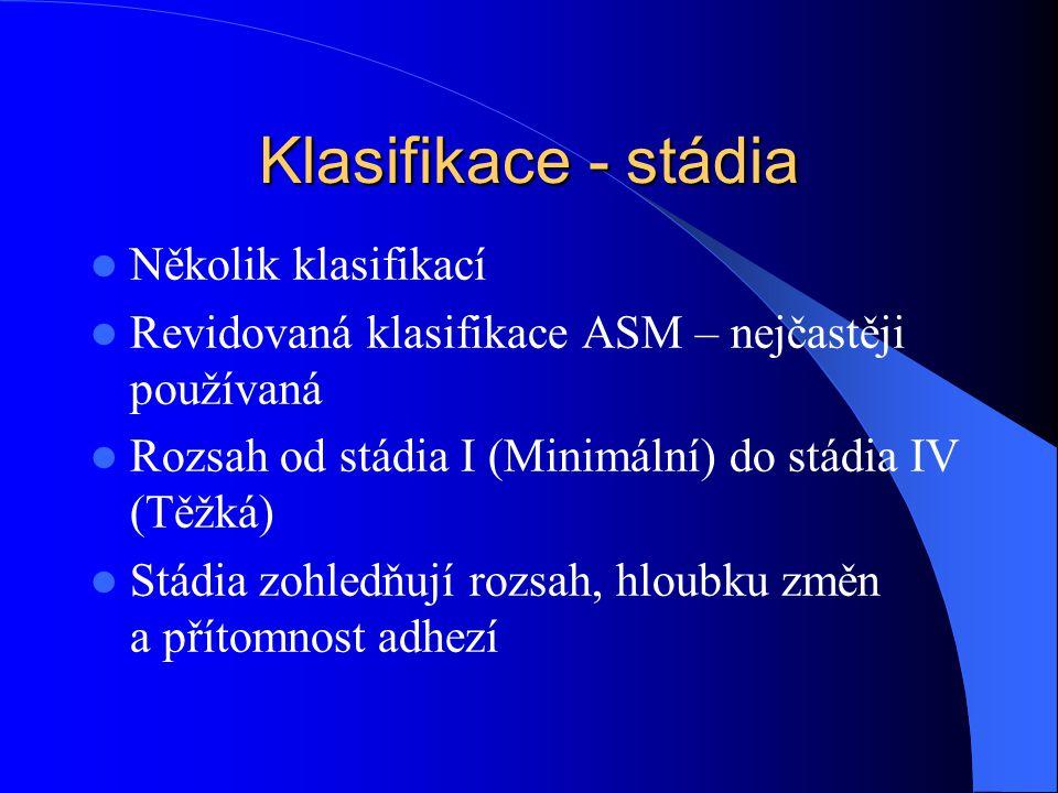 Klasifikace - stádia Několik klasifikací Revidovaná klasifikace ASM – nejčastěji používaná Rozsah od stádia I (Minimální) do stádia IV (Těžká) Stádia zohledňují rozsah, hloubku změn a přítomnost adhezí