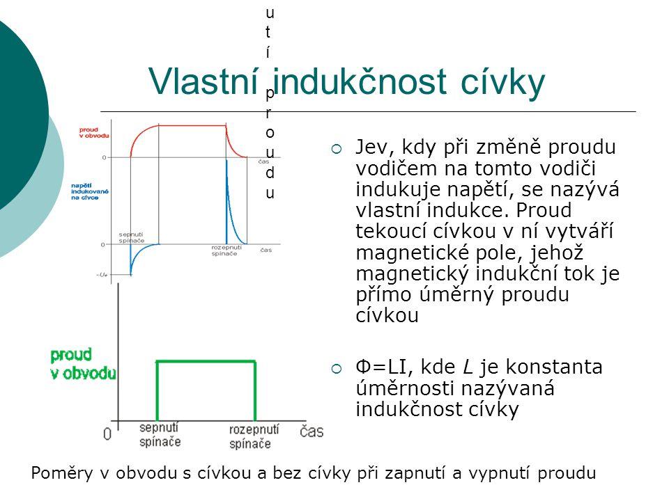 Indukovaný proud  Indukuje-li se na cívce elektromotorické napětí a cívka je součástí uzavřeného obvodu, protéká tímto obvodem indukovaný proud I i o