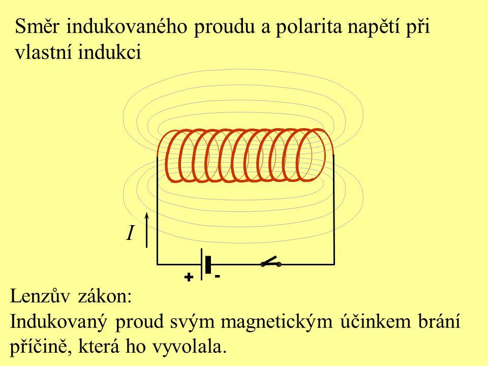 Lenzův zákon: Indukovaný proud svým magnetickým účinkem brání příčině, která ho vyvolala. Směr indukovaného proudu a polarita napětí při vlastní induk