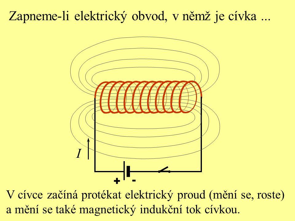 Zapneme-li elektrický obvod, v němž je cívka... + - V cívce začíná protékat elektrický proud (mění se, roste) a mění se také magnetický indukční tok c