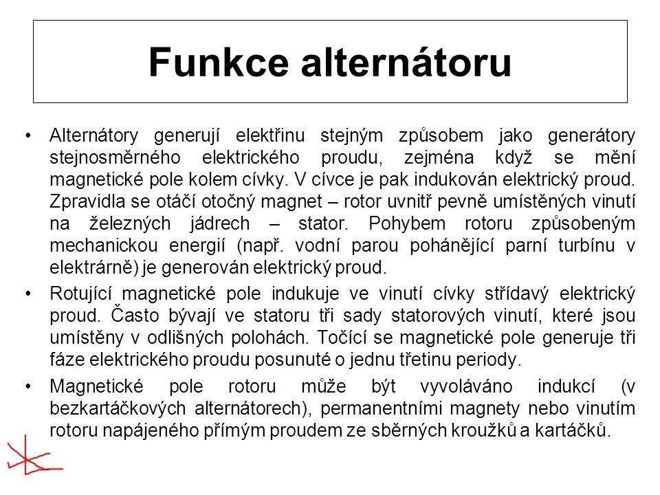 Funkce alternátoru Alternátory generují elektřinu stejným způsobem jako generátory stejnosměrného elektrického proudu, zejména když se mění magnetické